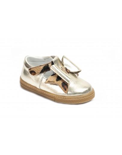 Casual Deri Ayakkabı Altın